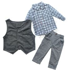 Gentleman Newborn Baby Boy Waistcoat + Pants+ Shirt 3Pc Outfit Set Clothes  Suit