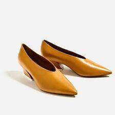 ZARA �� NEW AW16 MUSTARD V-SHAPE CUT LEATHER SHOES �� Ref  5219/101