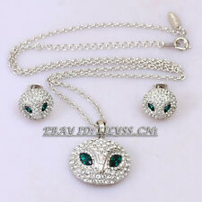 A1-S022 Fashion CZ Owl Earrings Necklace Jewelry Set 18KGP Crystal Rhinestone