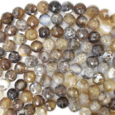 "Faceted Brown Crab Fire Agate Round Beads 14.5"" Strand 4mm 6mm 8mm 10mm 12mm"
