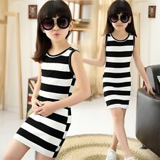 Summer Girl Dress Cotton Dress Black White Stripe Sleeveless Girls Dresses