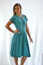 vtg 50s AQUAMARINE blue Silk SEQUiN Keyhole Metal zip  DRESS m