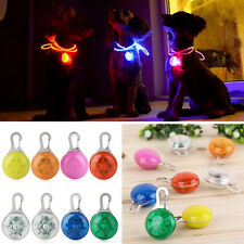 Flashing Glow Light Safety Round Blinking LED Tags Collar Pendant Pet Dog Puppy