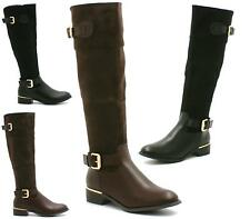 WOMENS LADIES LOW HEEL KNEE HIGH MID CALF WINTER RIDING BOOTS SHOES SIZE 3-8