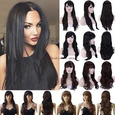 Full Head Wigs Long Curly Straight Cosplay Party Daily Fancy Dress Synthetic F85