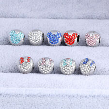 925 Silver Mouse Head CZ Crystal Spacer Loose Charm Bead Fit Bracelet Necklace