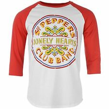 The Beatles Sgt Peppers Lonely Heart Club Band T-Shirt Mens White/Red Music Top