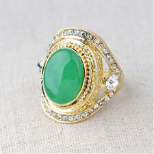 Noble Fashion Women 18K Gold Plated Natural Green Jade Ring Jewelry