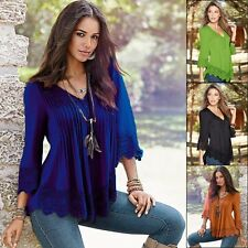 Women Fashion Lace Blouse Casual Loose Long Sleeve Blouse Tops Casual T-shirt