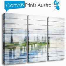 BEACH STRETCHED CANVAS WALL ART ABSTRACT OCEAN SET OF 3 PRINTS MORE IN OUR STORE
