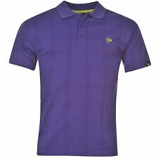 Dunlop Check Golf Polo Shirt Mens Purple Collared T-Shirt Top