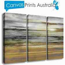 BEACH STRETCHED CANVAS ART  ABSTRACT OCEAN SUN SET OF 3 PRINTS MORE IN OUR STORE