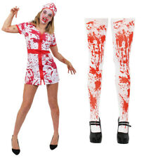 LADIES BLOODY NURSE COSTUME WITH BLOODY TIGHTS HOSPITAL HALLOWEEN FANCY DRESS