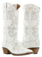 Womens white wedding leather cowboy cowgirl boots rhinestones bridal western new