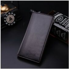 Men's Business Long Casual Leather Wallet Pockets Card Clutch Cente Bifold Purse