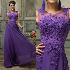 Sexy Lace Applique Long Purple Bridesmaid Dress Evening Prom Party Formal Gown