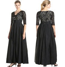 New Long Maxi V lace Satin Joint 3/4 Sleeve Formal Evening Party Plus Size Dress