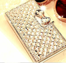 New Bling Bowknot Crystal Diamond Wallet Flip Case Cover For iPhone For Samsung