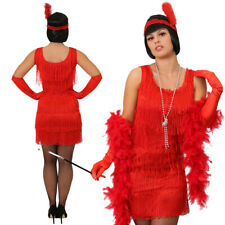 LADIES RED DELUXE FLAPPER FANCY DRESS COSTUME 1920'S CHARLESTON GATSBY TASSEL
