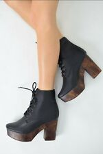 Ladies Women Black Lace Up High Block Heel Casual Ankle Boots Shoes UK Size 3 8