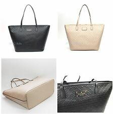 New KATE SPADE WKRU3826 Margareta Penn Place Embossed Pebble Black NWT