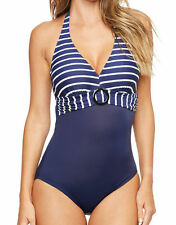 figleaves Womens Tailor Underwired Tummy Control Swimsuit