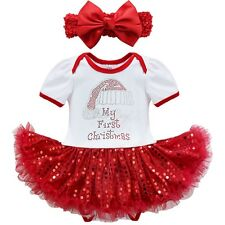 Newborn Infant Baby Girls Christmas Santa Outfit Romper Xmas Fancy Dress Clothes