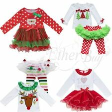 Toddler Kid Baby Girl CHRISTMAS Outfit Tshirt +Tutu Dress Pants Clothes XMAS Set
