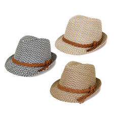 Unisex Premium 2 Tone Fedora Straw Hat with Braided Band - Diff Colors Avail