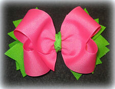 Pink Green Boutique Hair Bow Baby Toddler Girls Preppy