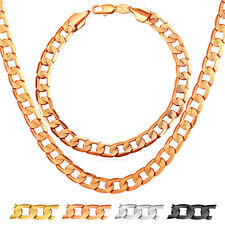 Fashion Curb Chain Necklace Bracelet Set for Men 18K Gold Plated Jewelry Gift