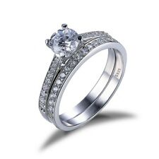 1ct CZ Engagement Wedding Ring Set 925 Sterling Silver Cubic Zirconia CZ Stone