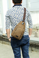 Mens Military Vintage Canvas Leather Satchel Shoulder Bag Messenger Travel Bag