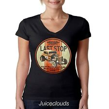 Classic Car V-Neck Shirt Last Stop Hot Rod Repair Outlaw Route 66 JUNIORS
