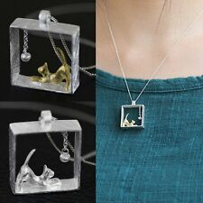 Fashion Cat Silver/Gold Animal Chain Pendant Necklace Women Bridal Jewelry Gifts