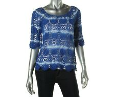 NWT $89.50 INC International Concepts Blue Tie-Dye Cotton Lace Top, Sz XS and S
