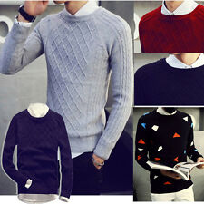 Mens Machine Knitting Pullover Plain Stretch Knit Cardigan Sweater Large Size
