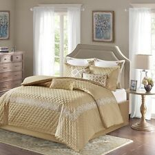 Luxury Royal Gold White Comforter Bed Skirt Euro Shams with Decorative Pillows
