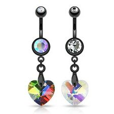 Surgical Stainless Steel Crystal Prism Heart Dangle Belly Bar / Navel Ring