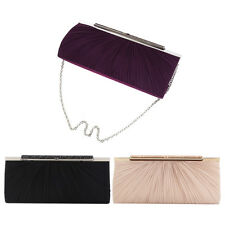 Elegant Pleated Satin w/ Crystal Top Hard Frame Clutch Evening Bag - Diff Colors