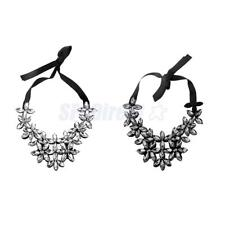 Fashion Crystal Floral Statement Necklace Chunky Bubble Bib Collar-White/Black