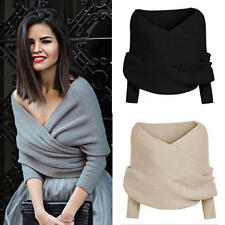 Fashion Women V Neck Off Shoulder Knitted Wrap Sweater Jumper Wrap Cropped Tops