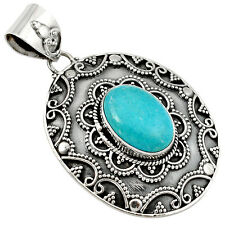 Blue sleeping beauty turquoise oval 925 sterling silver pendant jewelry j4857