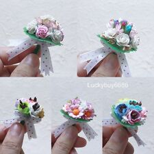 Mini Flower Bouquet Mixed Color Mulberry Paper Craft Decorate Dollhouse Handmade