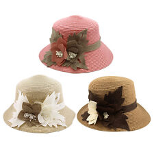 Elegant Flower Straw Sun Hat - Different Colors Available