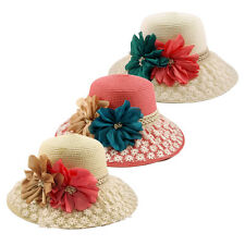 Princess Lace Flower Straw Sun Hat - Different Colors Available