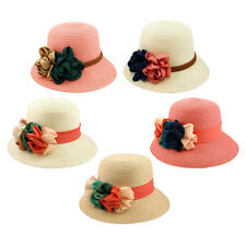 Deluxe Flower Straw Sun Hat - Different Colors & Bands Available