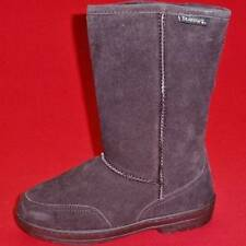 USED Women's BEARPAW Brown MEADOW SHORT Leather Wool-Lined Snow Winter Boots