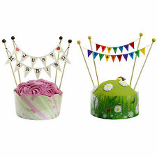 Cake Topper Bunting Flags - Wedding, Happy Birthday, Retirement Cake Decorations