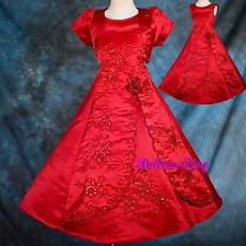 Embroidery Bead Satin Dress Bolero Wedding Flower Girl Kid Child Sz 2T-11 FG134J
